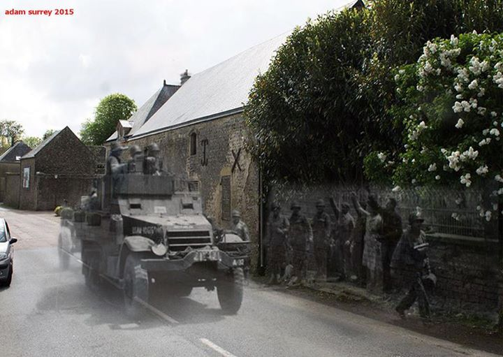 US troops move inland through  Colleville-sur-Mer, june 1944