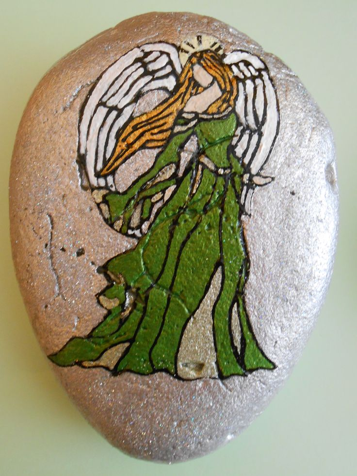 Guardian Angel painted Stone.... inspired!