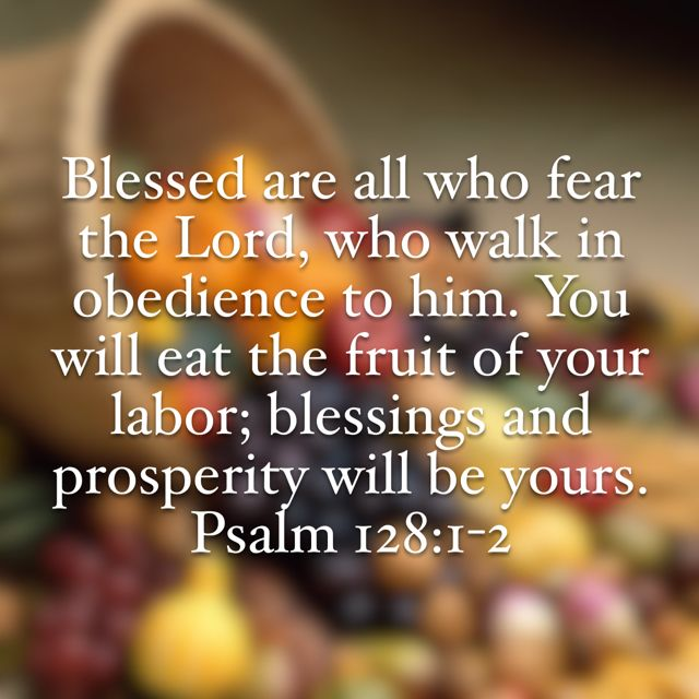 """""""Blessed is every one who fears the LORD, Who walks in His ways. When you eat the labor of your hands, You shall be happy, and it shall be well with you."""" Psalms 128:1-2 NKJV"""