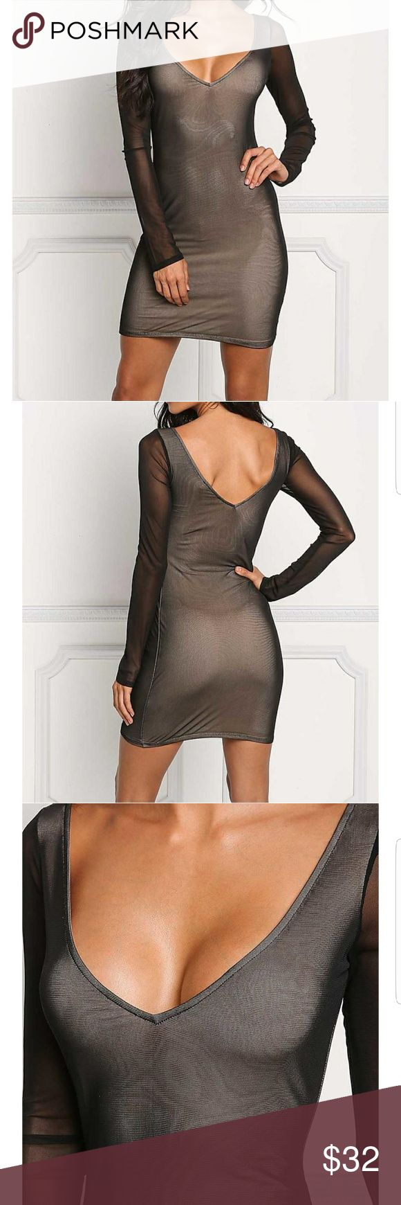 """Aniston"" Mesh Plunge Bodycon Dress Go out in style in this super sexy bodycon dress that features a soft to the touch mesh bodice solid all throughout. Has a plunging neckline and long sleeves. Has nude lining attached to the bodice with a form hugging silhouette and above the knee length.  Model is 5'6"" with a 32"" bust, 23"" waist, and 36"" hips. Wearing size small. Blush Rose Boutique Dresses Mini"