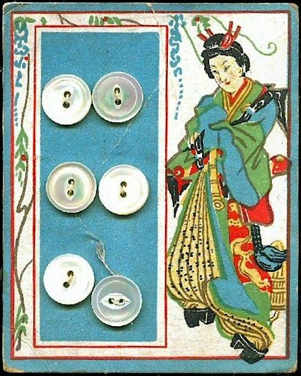 (::) vintage button card from the Art Deco era when Asian influence, silk, and Mid-East designs were popular interests.