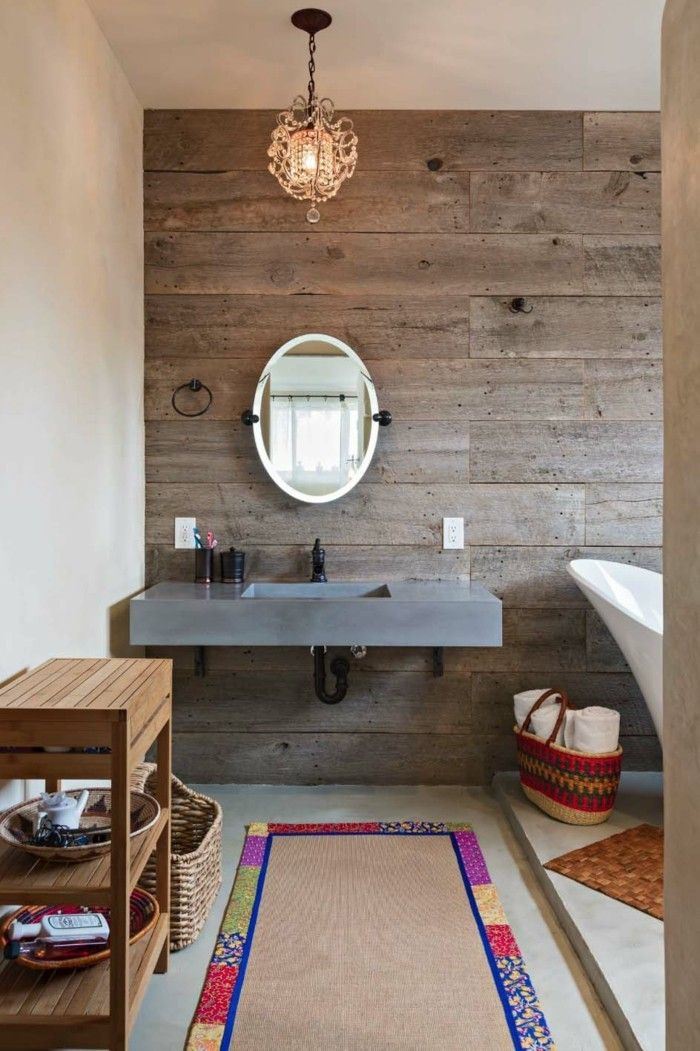 Moderne Wandgestaltung Hölzerne Akzentwand Badezimmer