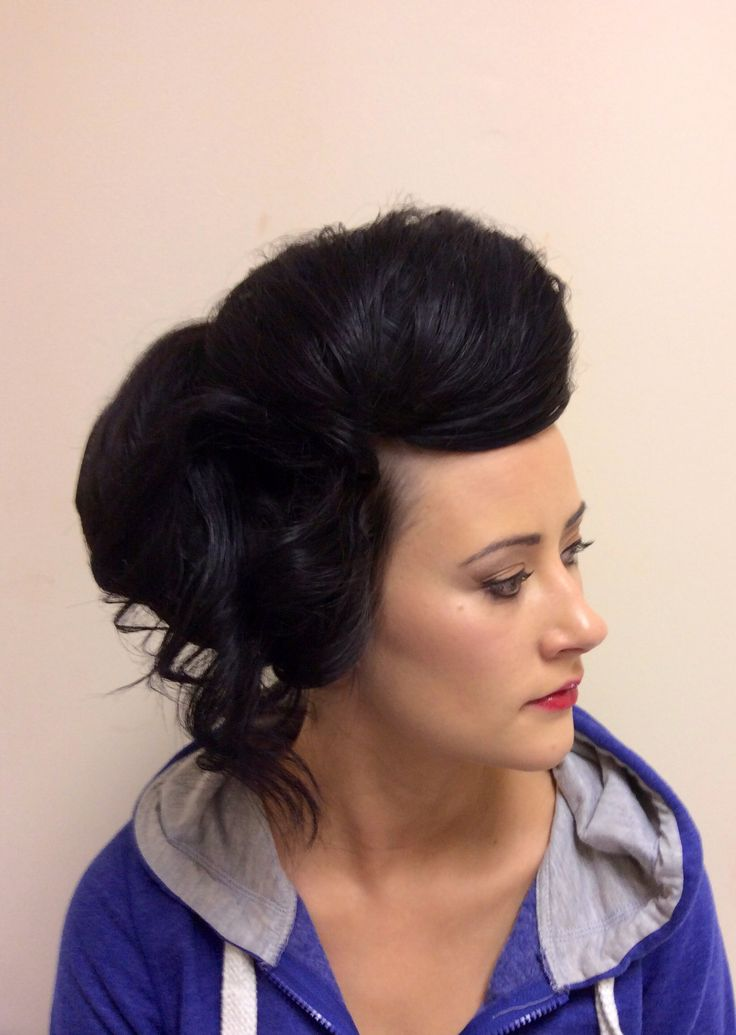 Forward bump with side detail to soften updo