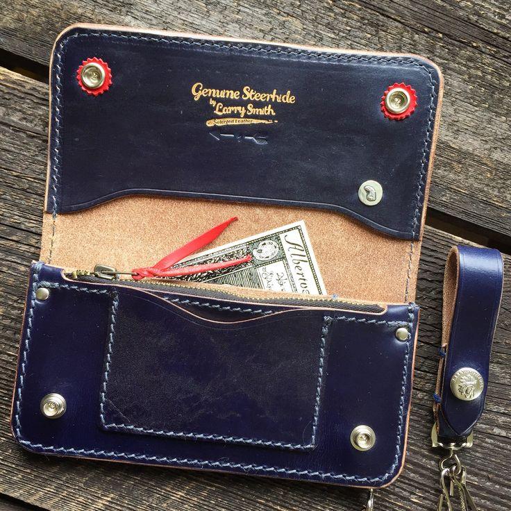 Larry Smith Trucker Wallet! (made in japan, craftsmanship, steer hide, eagle head, silver)