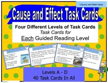 These (40 task cards) are organized by Lexile and guided reading levels to make guided reading instruction even easier Guided Reading Levels A,B,C, and D are covered in this document.). (FOUR Different Guided Reading Levels of Practice Are Included) It includes 10 task cards per guided reading level and Lexile range.