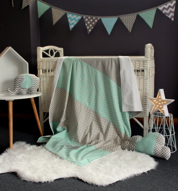 Baby nursery decor set. Blue and grey,aqua baby blanket.Cloud pillow,elephant softie.Blue and grey bunting.cloud blanket.baby boy nursery