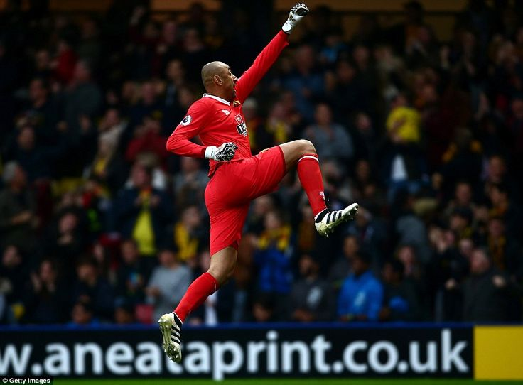 Goalkeeper Heurelho Gomes could not hide his delight as Watford grabbed an 83rd minute winner