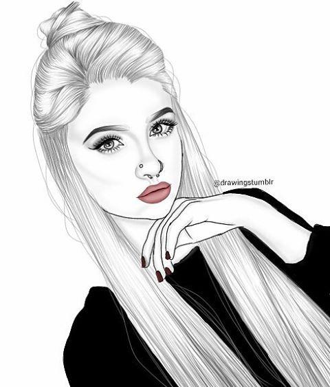 Outlines tumblr girl lip service pinterest - Dessin swag fille ...