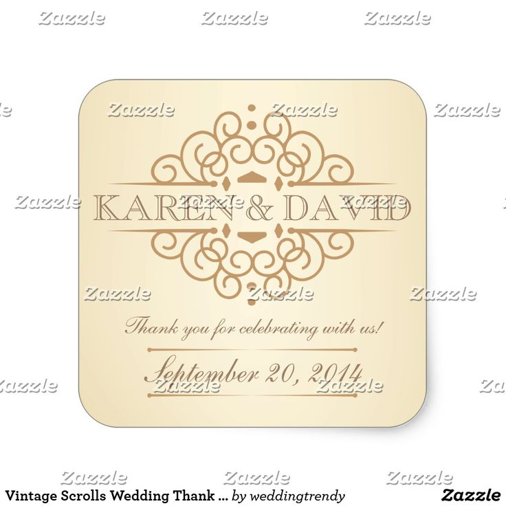 Vintage Scrolls Wedding Thank You Labels Personalized Wedding Thank You Labels --Beautiful Vintage Victorian style with simple but classic curly scrolls on tea-stained ivory background with antique gold accents. Easy to edit template can be used as is for envelope seals, or change the text for save the date cards, thank you notes, or add your special message on favors. Elegant and classy engraved-look letterpress style retro typography with script calligraphy is suitable for both casual or…