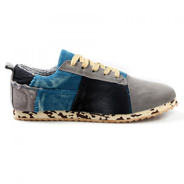 British Color Block and Lace-Up Design Canvas Shoes For Men on dresslily.com