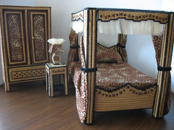 Animal Print Bedroom By Graciesdesign On Etsy Plastic Canvas Dollhouse And Barbie