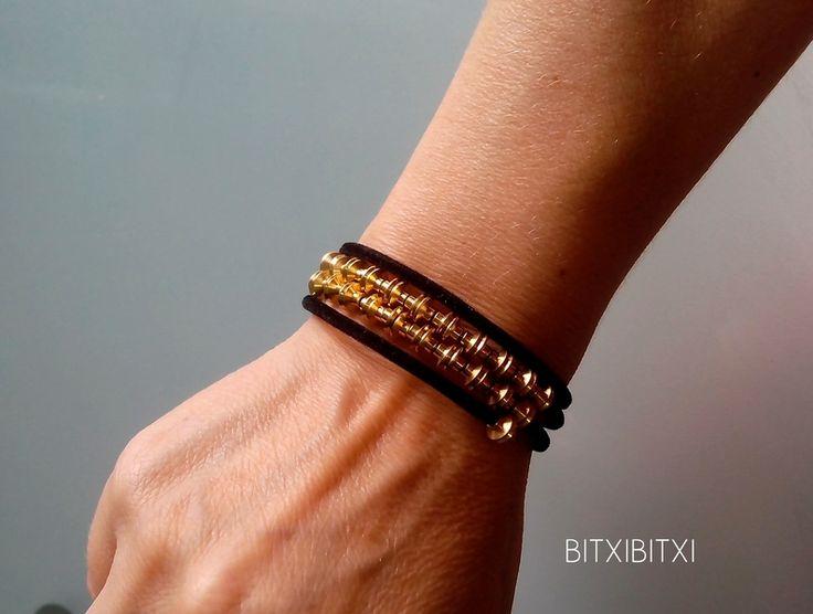 Pulseras oro central terciopelo negro latón 3 v de BITXIBITXI por DaWanda.com