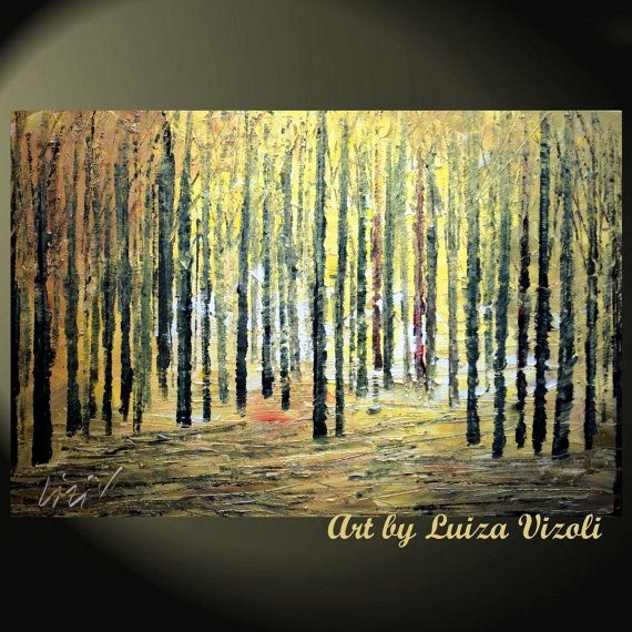 Original Modern Abstract Landscape Trees Palette Knife Impasto Fall Oil Painting FOREST 36x24 by Luiza Vizoli on Etsy, $299.00