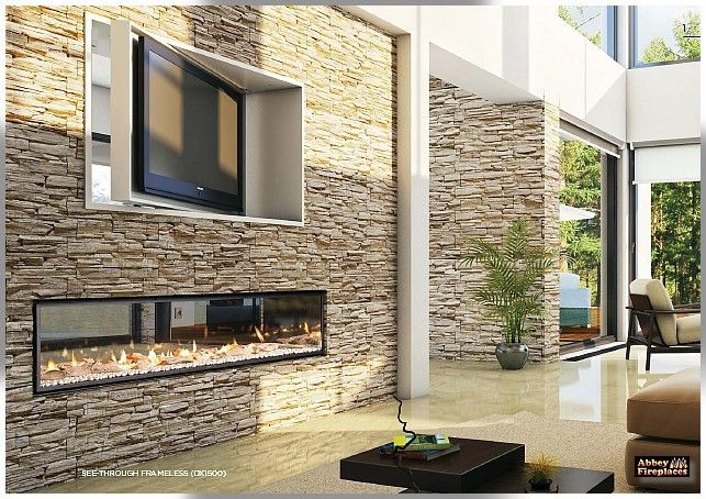 GEN - I - US ! The Escea DX1500 see through, double sided inbuilt gas fireplace by Abbey Fireplaces.