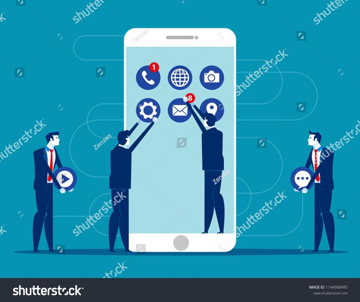 Business people decorated mobile. Concept business technology vector illustration. Flat cartoon character style design.Concept#business#technology#mob…