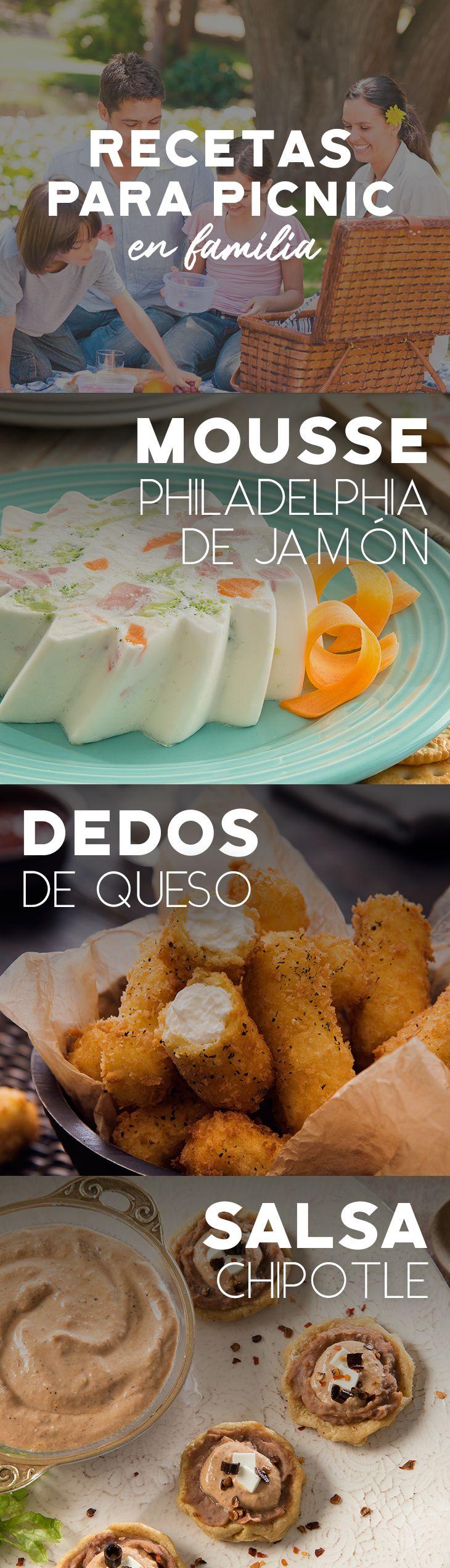 Olvídate del trabajo y disfruta de un picnic en familia con estas recetas.   #recetas #receta #quesophiladelphia #philadelphia #crema #quesocrema #queso #comida #cocinar #cocinamexicana #recetasfáciles #picnic #recetaspicnic #picnicenfamilia #mousse #dedosdequeso #chipotle #salsa #jamón