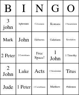 New Testament Books Bingo Cards