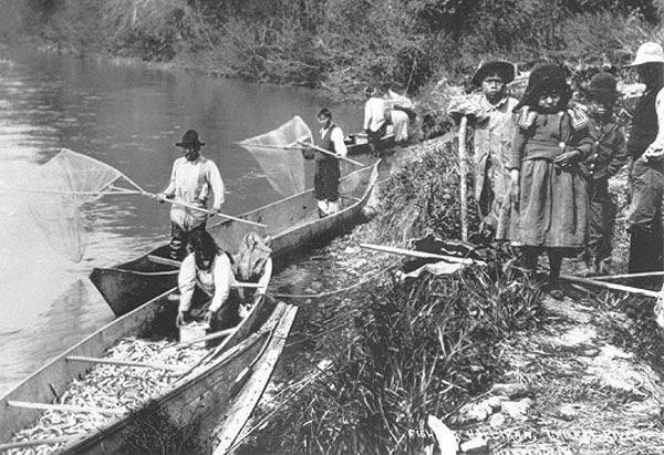 Image result for early first nations fishing in canoes