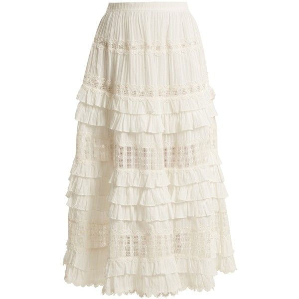 Zimmermann Corsair lace and ruffle-trimmed cotton skirt ($795) ❤ liked on Polyvore featuring skirts, ivory, ruffle midi skirt, white ruffle skirt, mid-calf skirt, calf length skirts and cotton knee length skirt