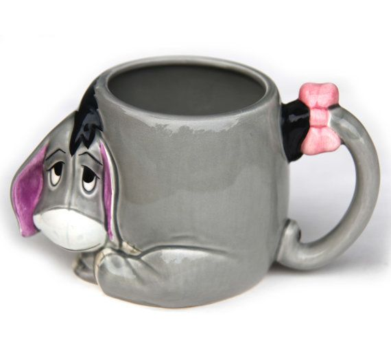EEYORE Winnie the Pooh 3d Protruding Face Mug Tail Handle Pink Bow Tail and Cute Little Donkey DISNEY Collectible Cup