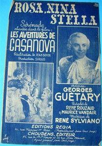 """PARTITION """"Rosa, Nina, Stella"""" extrait du film « Les aventures de Casanova » par Georges Guétary (1947)"""