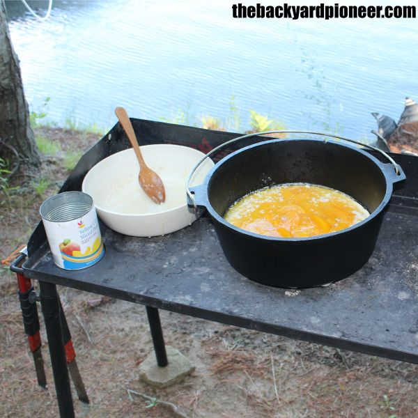 Dutch oven peach cobbler recipe from thebackyardpioneer for Dutch oven camping recipes for two