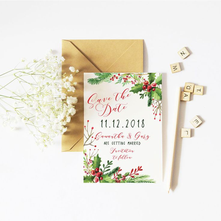 Holly Christmas Save the Date 54 best