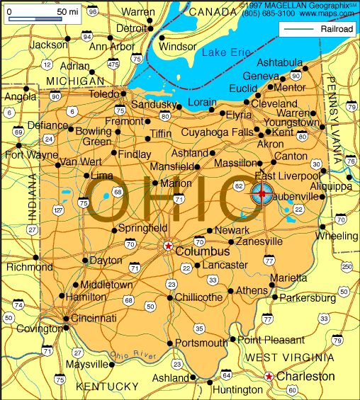 Map of Ohio which became the 17th state on March 1, 1803.  The capital is Columbus.