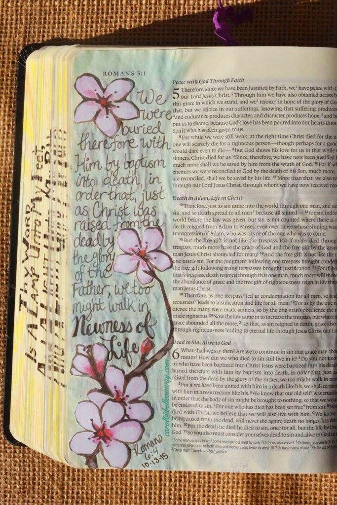 Romans 6:4, October 13, 2015 carol@belleauway.com, patterned paper, watercolor, bible art journaling, journaling bible, illustrated faith