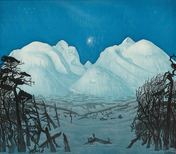 Harald Sohlberg 1869-1935: Vinternatt i Rondane (1917)
