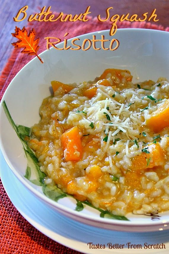 Amazing Butternut Squash Risotto. Roasted butternut squash, tender rice, topped with freshly grated parmesan cheese!