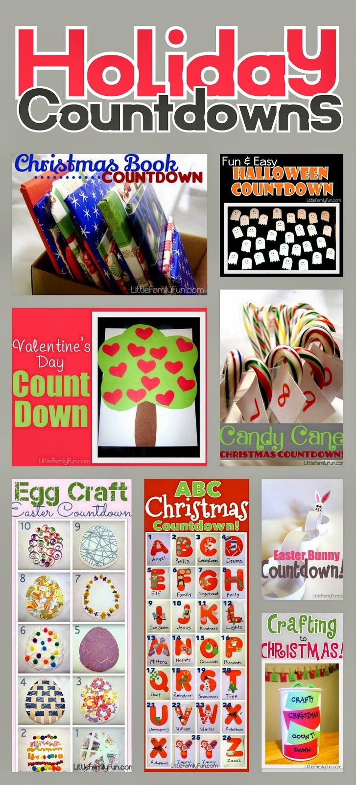 Holiday Countdown ideas. Fun ways to get ready for different Holidays! Easter countdown. Halloween Countdown. Christmas Countdown. Valentines Day Countdown.