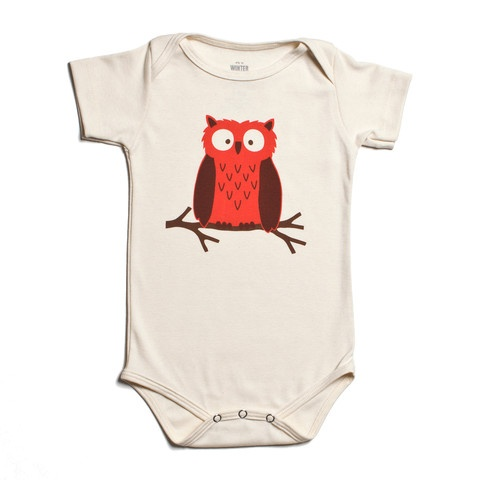 Short-Sleeve Graphic Snapsuit - Owl Natural