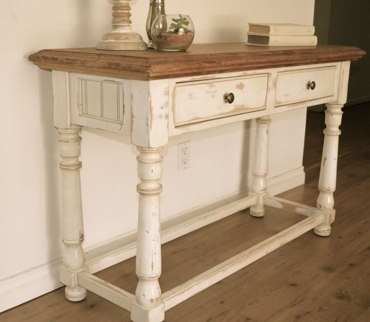 Farmhouse style console table  Distressed white paint  light stain on top   By Analia. 118 best  The Workshop  Hand painted and refinished wood furniture