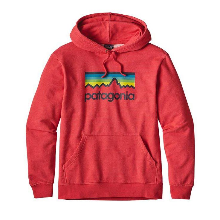 Patagonia Men's Line Logo Pullover Hoodie in French Red