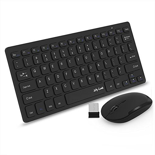 nice Wireless Keyboard Mouse, Jelly Comb P.4GHz Ultra Slim Compact Portable Wireless Keyboard and Mouse Combo Set for PC, Desktop, Computer, Notebook, Laptop, Windows XP / Vista / S / H / 10 – Black