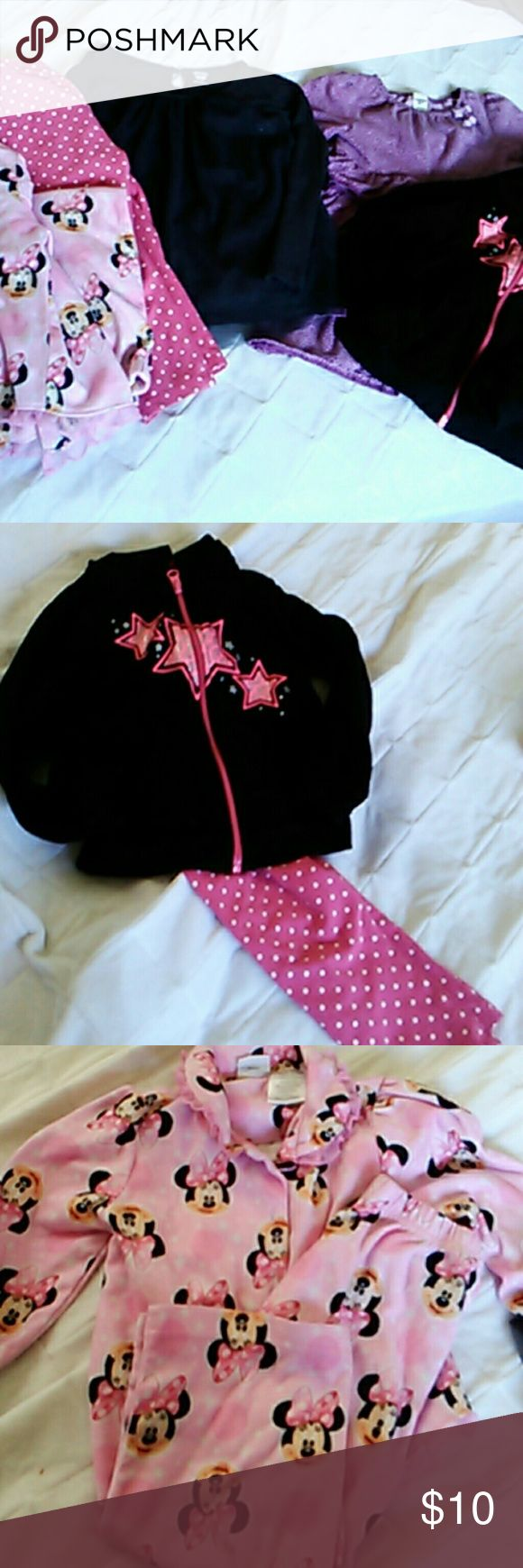 Girls Size 3 Fall and Winter Clothes Oh Josh purple polka dot dress, Minnie Mouse pajamas, pink polka dot pants, black and pink zip up jacket, red long sleeve with cute tie in the back, and Old Navy long sleeve shirt. Good used condition, no stains or tears, comes from a smoke and pet free home! Old Navy Bottoms Casual