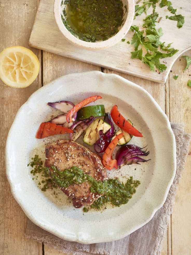 Pork loin steaks with salsa verde