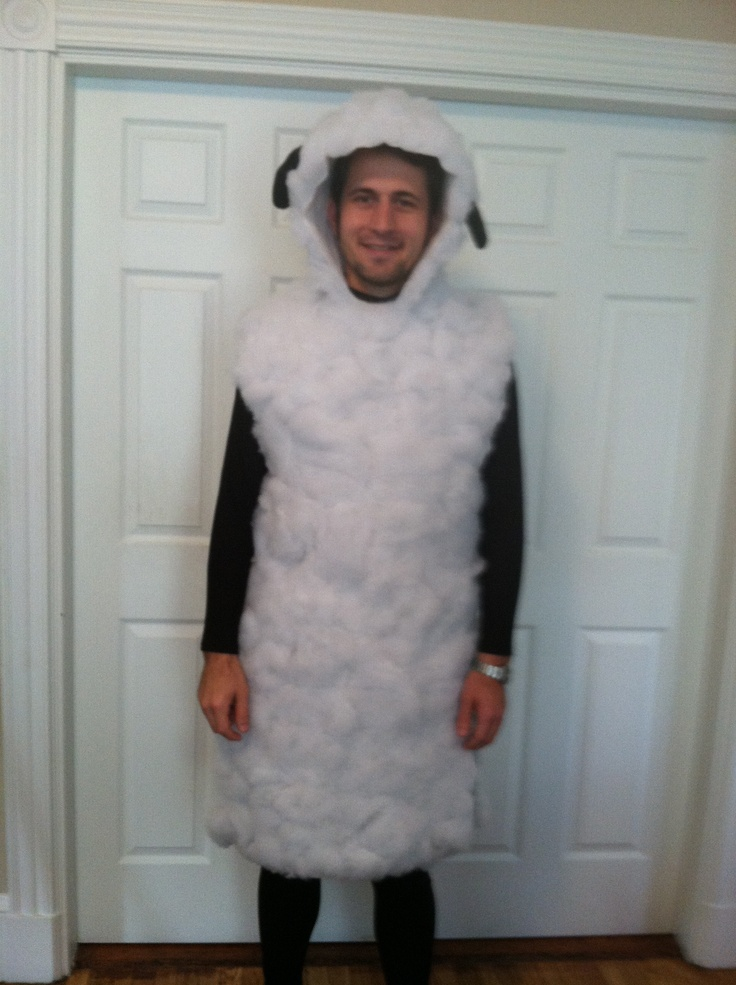 Homemade sheep costume ingredients white felt sewn together at shoulders with ties at the side  sc 1 st  Pinterest : lamb costumes for adults  - Germanpascual.Com