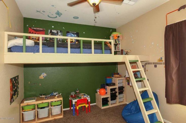 Transitional Kids Bedroom with Mural, Ceiling fan, flush light, Carpet, High ceiling, Bunk beds