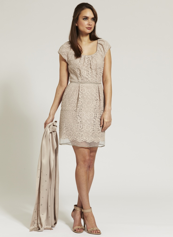 Mint Velvet SS13. Inspire Me. Daisy Embroidered Organza Bell Dress £129, Nude Leather Double Buckle Sandals £99.