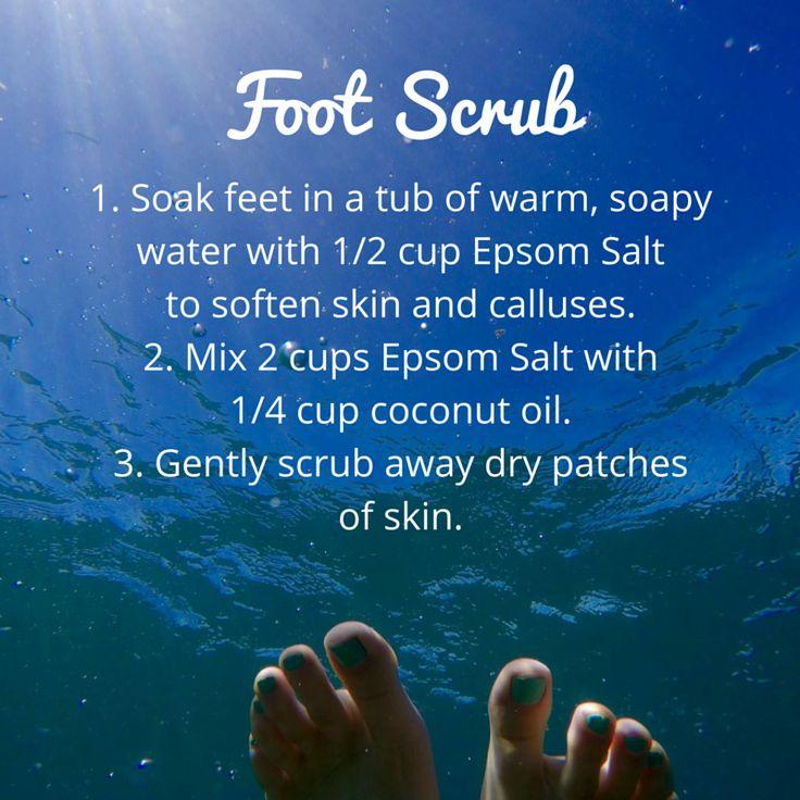 Get your feet ready for sandal season with an Epsom salt scrub. #feet #pedicure…