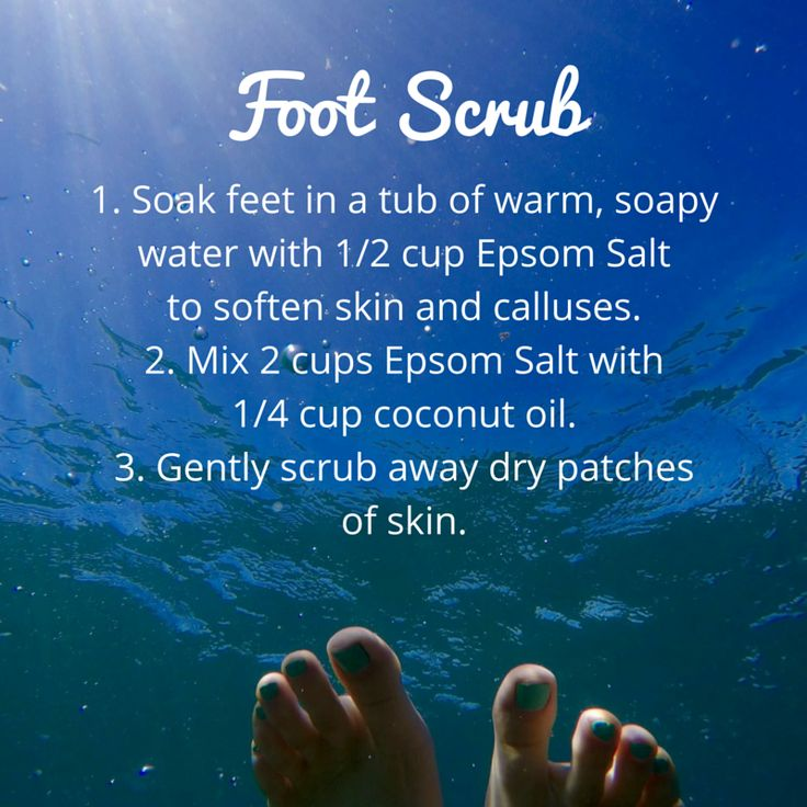 Get your feet ready for sandal season with an Epsom salt scrub. #feet #pedicure…