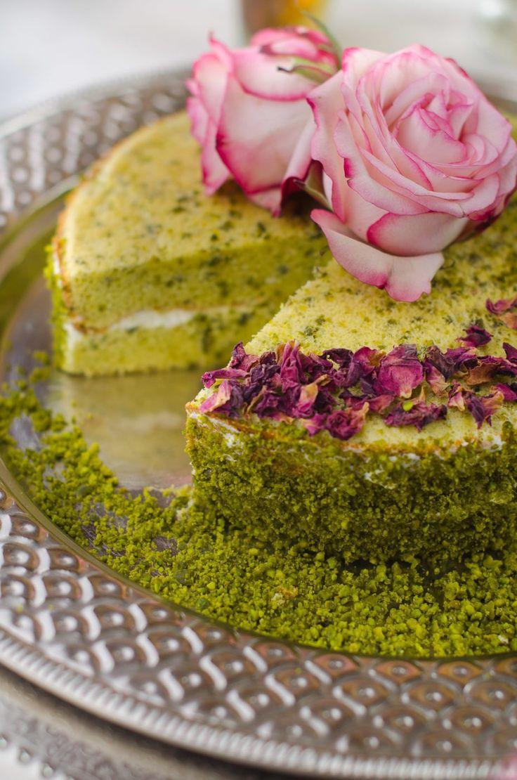 Marokkanischer Pistazienkuchen, Rezept marokkanischer Kuchen, Backen, Rezepte mit Rosenwasser, Rezepte mit Kardamom