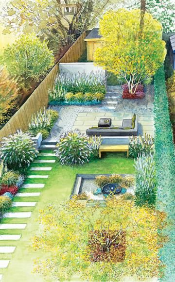 609 best images about landscape plans on pinterest for Long thin garden designs
