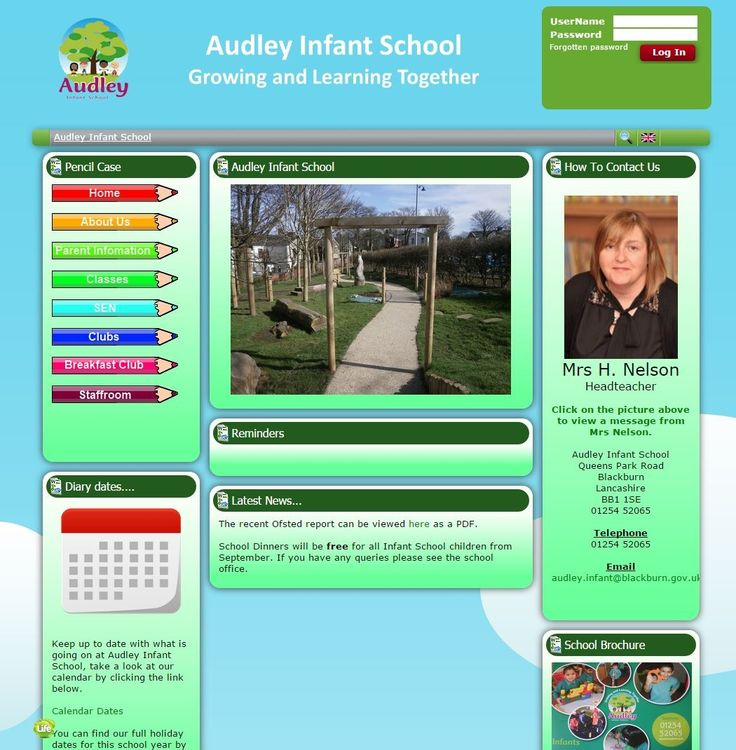 Audley Infant School in Blackburn have a clean, attractive, easy to navigate site.