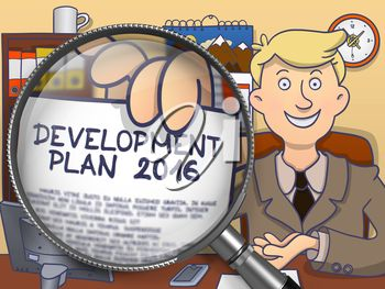 Businessman in Office Showing Paper with Concept Development Plan 2016. Closeup View through Magnifying Glass. Colored Doodle Style Illustration.