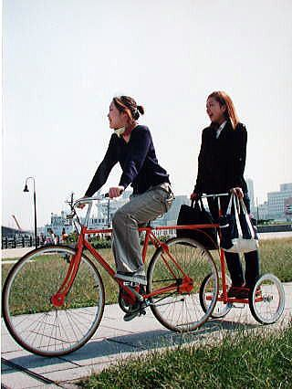 This is how @Bri W. W. W. Whitcraft will take me biking with her!!! Bike trailer for standing passengers #bike #bicycle