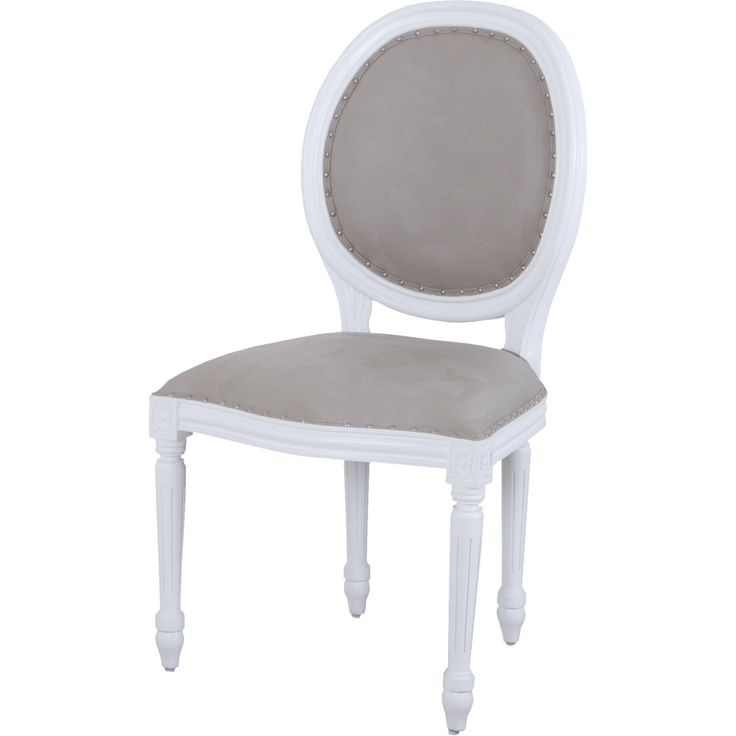 Viola Round Back Dining Chair In White W/ Grey Fabric By