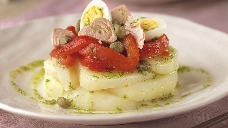 Ensalada de patata, pimiento y atún